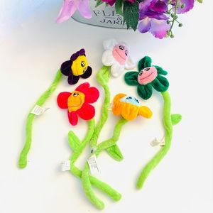 Set of 5 bendy fabric colorful flowers decor toys